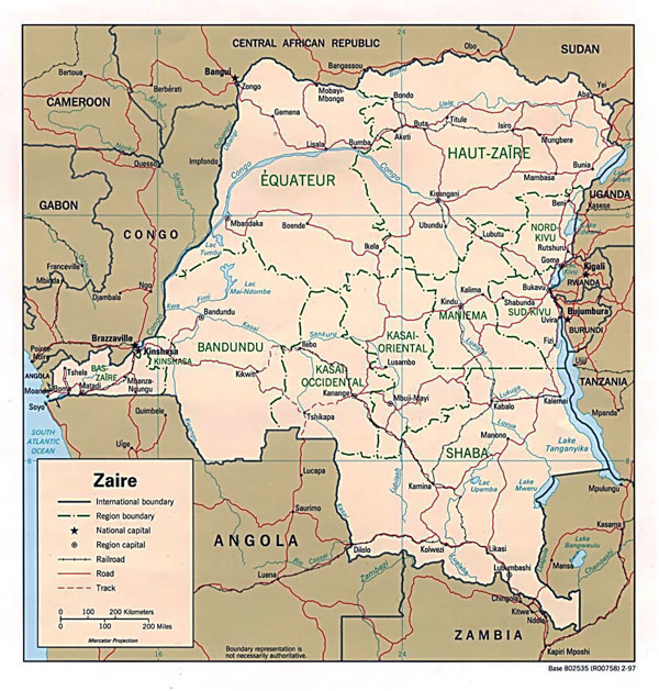 Detailed political map of Congo Democratic Republic.