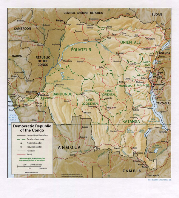 Detailed relief and political map of Congo Democratic Republic with roads, regions and cities.