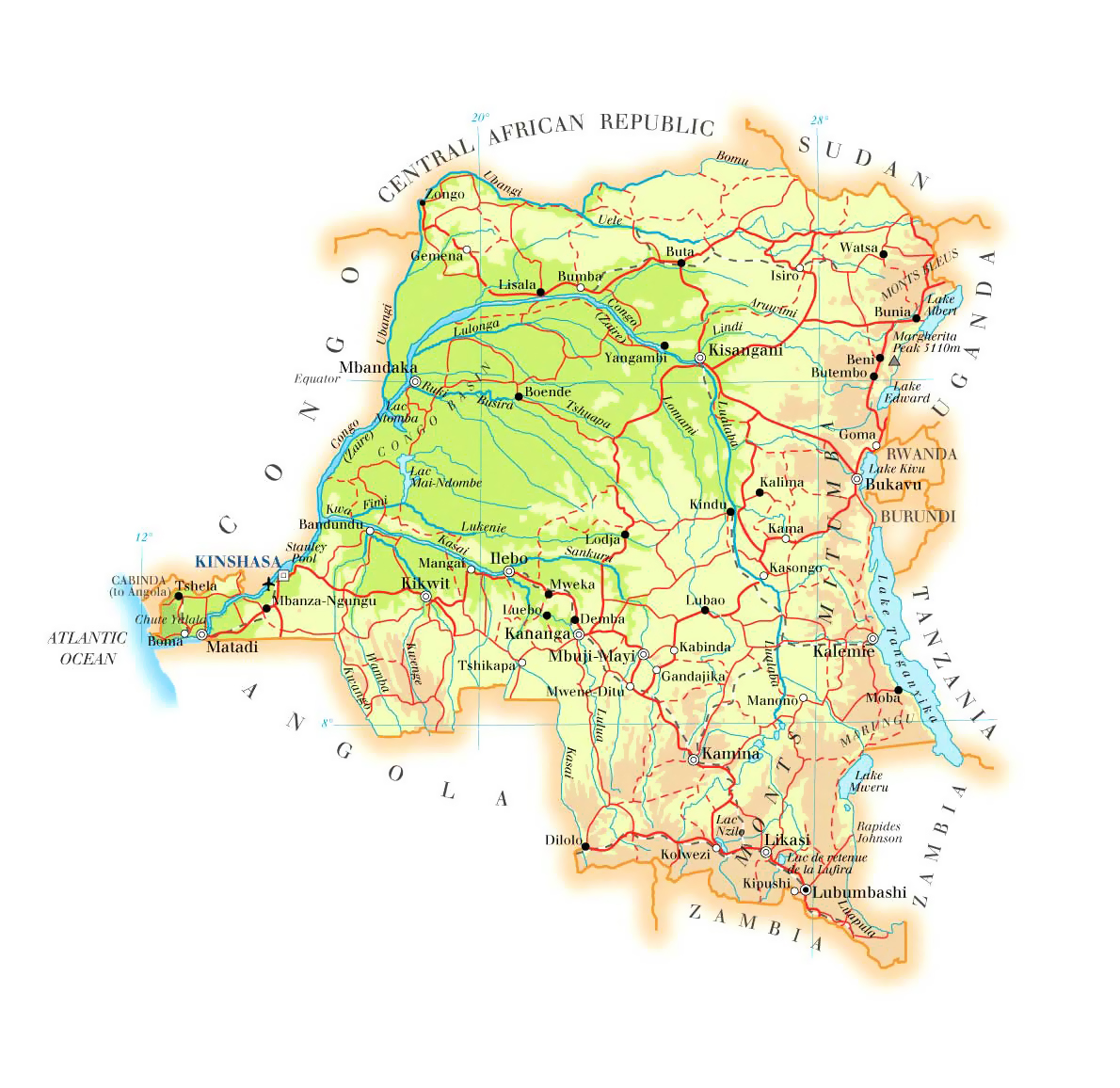 Detailed road and physical map of Congo Democratic Republic Congo