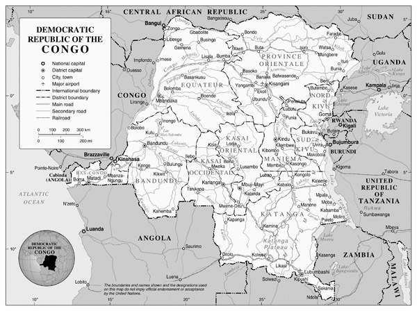 Full political map of Congo Democratic Republic.