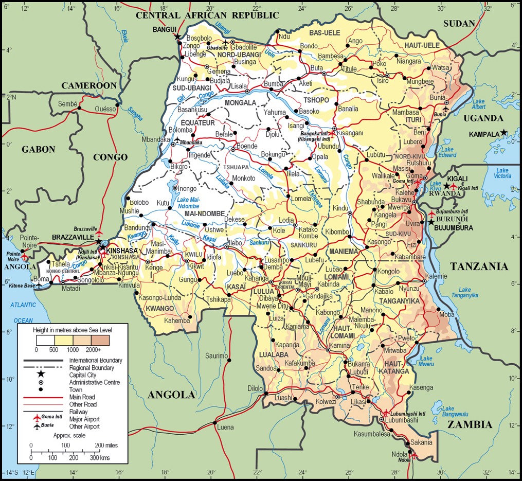 Large detailed physical and administrative map of Congo ...