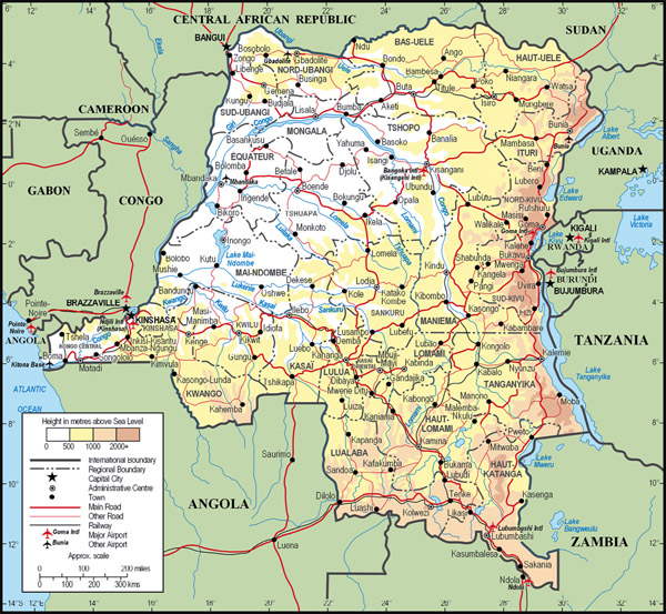 Large detailed physical and administrative map of Congo Democratic Republic with all cities, roads and airports.