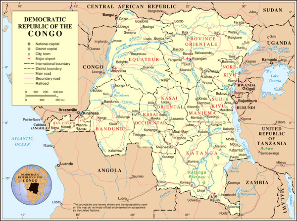 Large detailed political and administrative map of Congo Democratic Republic with all cities and roads.