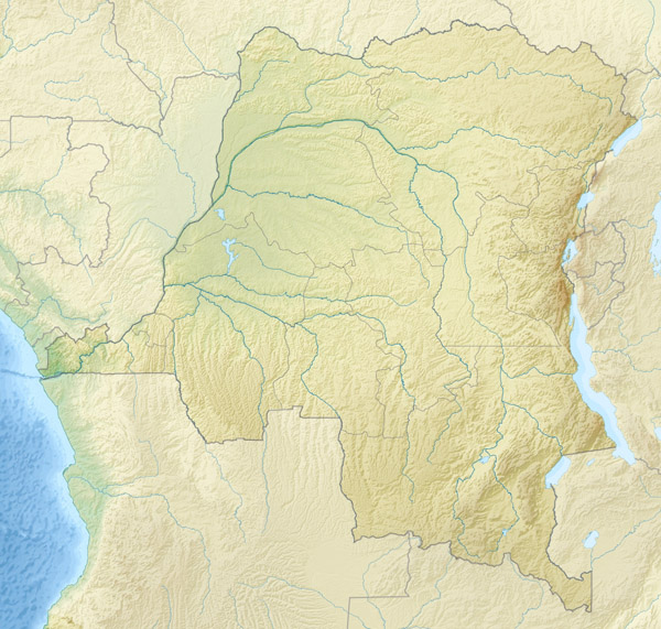 Large detailed relief map of Congo Democratic Republic.