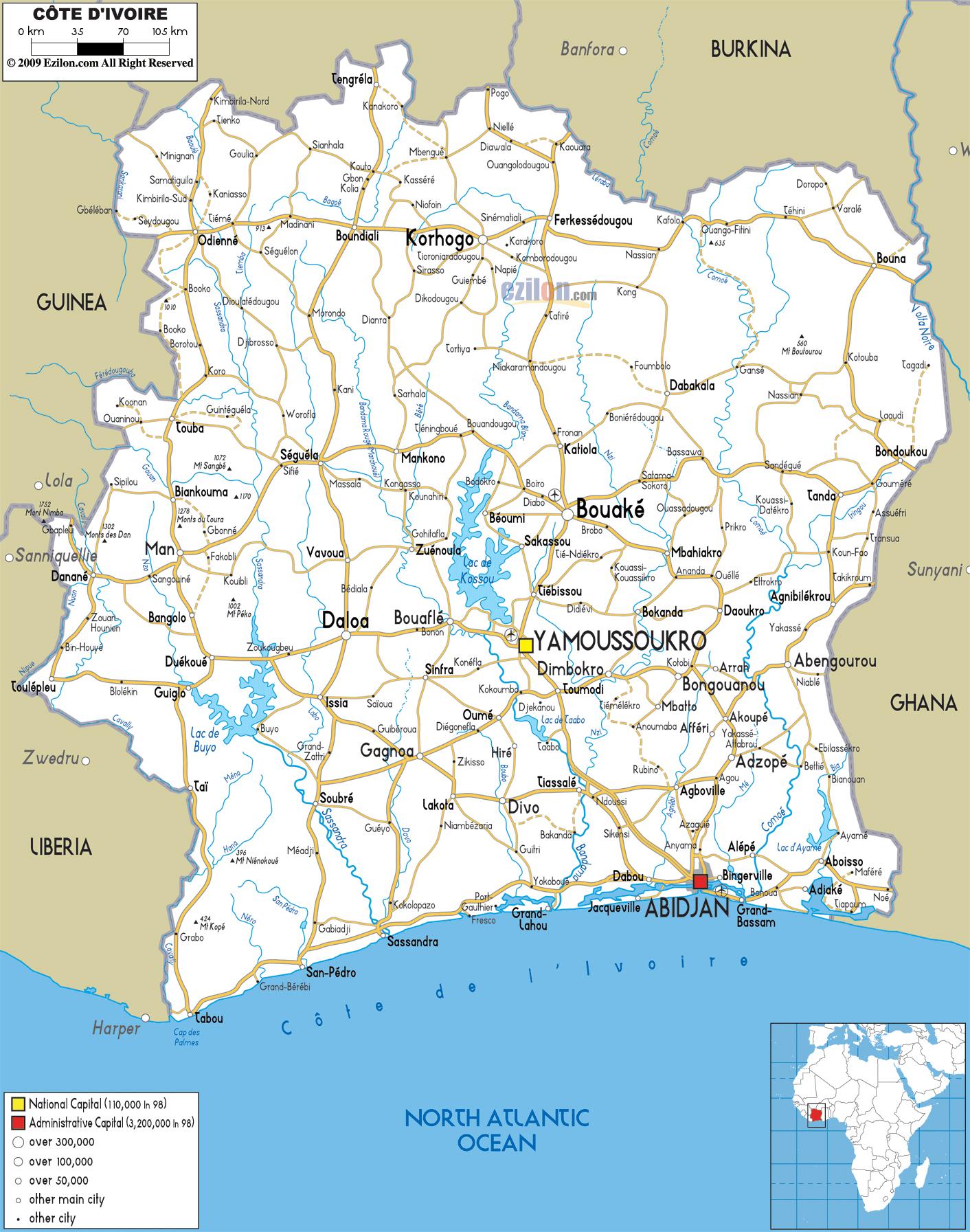 Large detailed road map of Cote dIvoire Cote dIvoire large