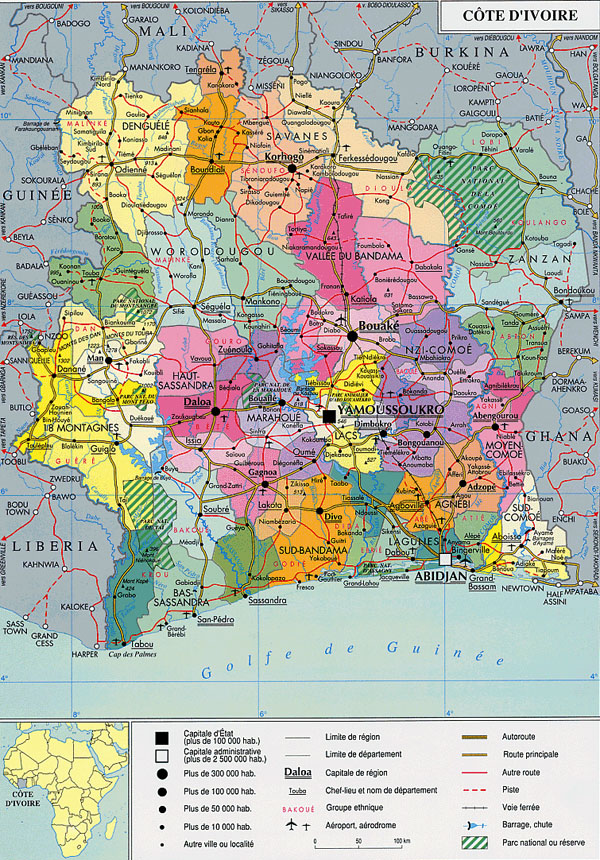 Administrative map of Cote d'Ivoire with all cities, roads and airports.