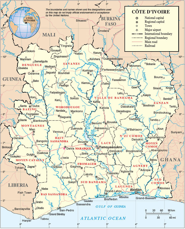 Detailed administrative map of Cote d'Ivoire. Cote d'Ivoire detailed administrative map.