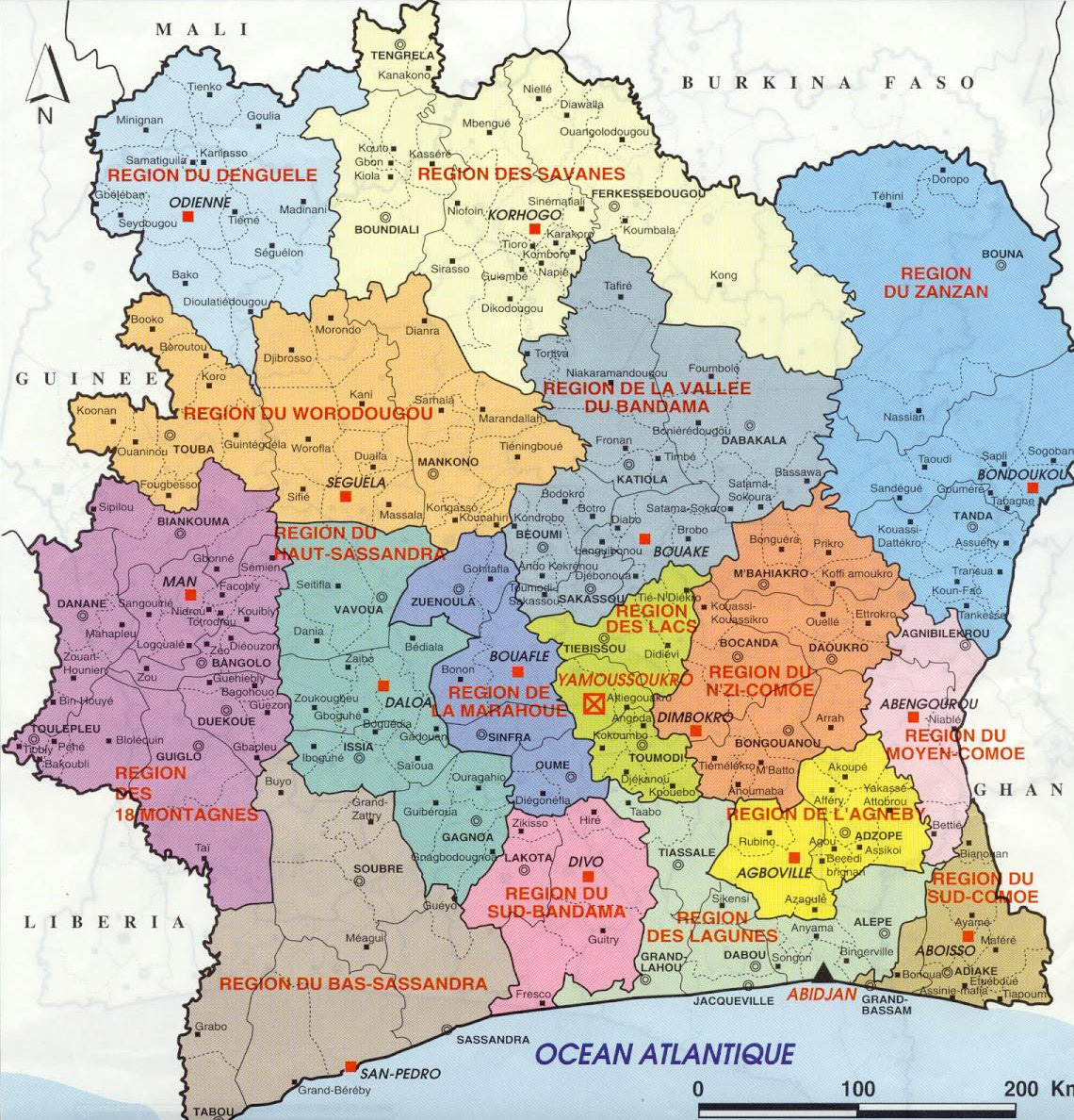 Detailed Administrative Map Of Cote DIvoire With All Cities - Cote d'ivoire map