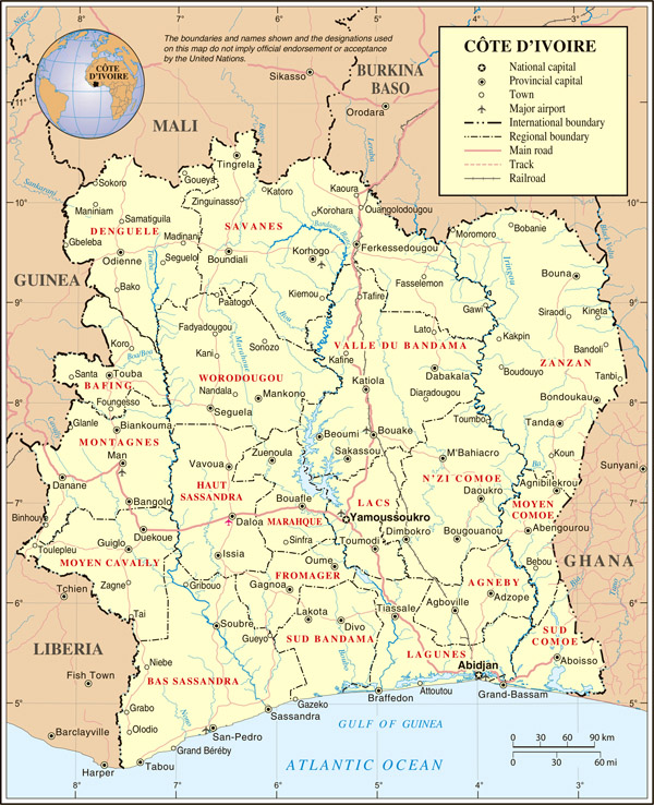 Detailed political map of Cote d'Ivoire with highways.
