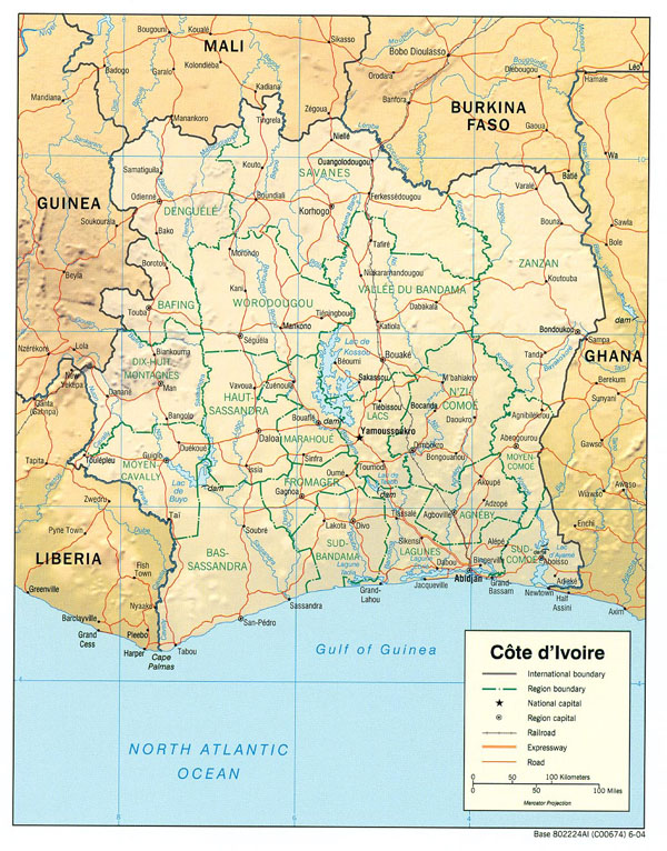 Detailed relief and administrative map of Cote d'Ivoire with all cities and roads.