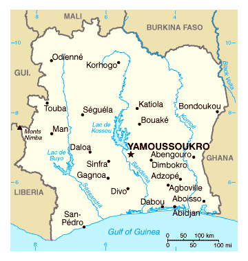 Map of Cote d'Ivoire. Cote d'Ivoire map.