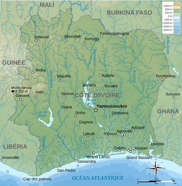 Physical map of Cote d'Ivoire. Cote d'Ivoire physical map.
