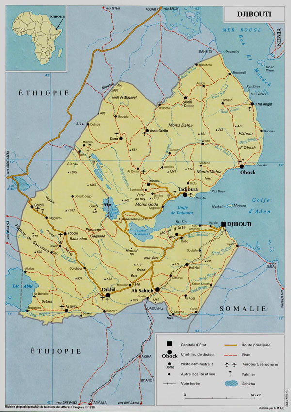 Detailed road and political map of Djibouti. Djibouti detailed road and political map.