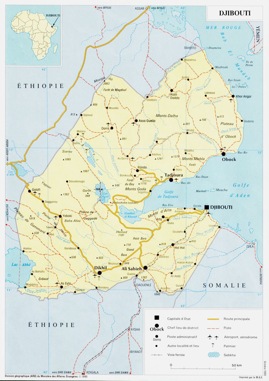 Detailed road and political map of Djibouti with cities and airports ...