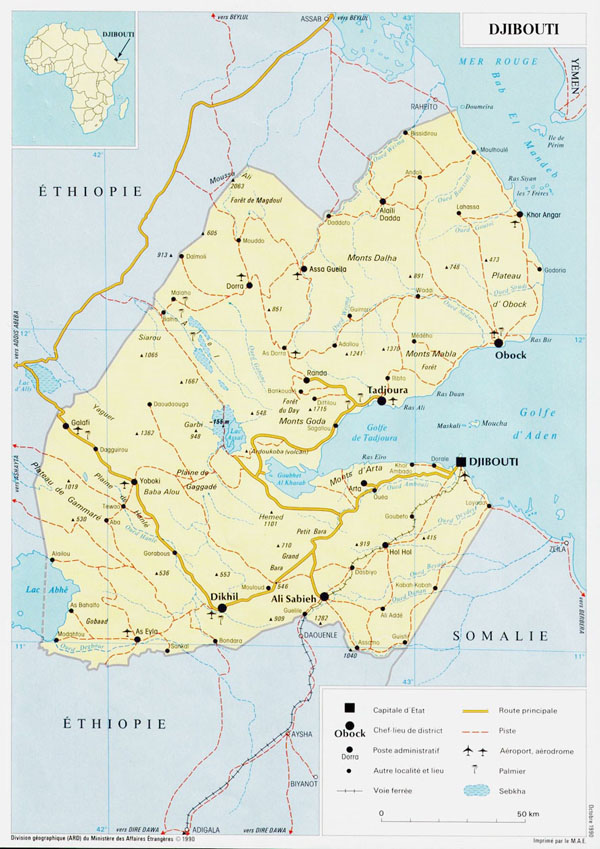 Detailed road and political map of Djibouti with cities and airports.