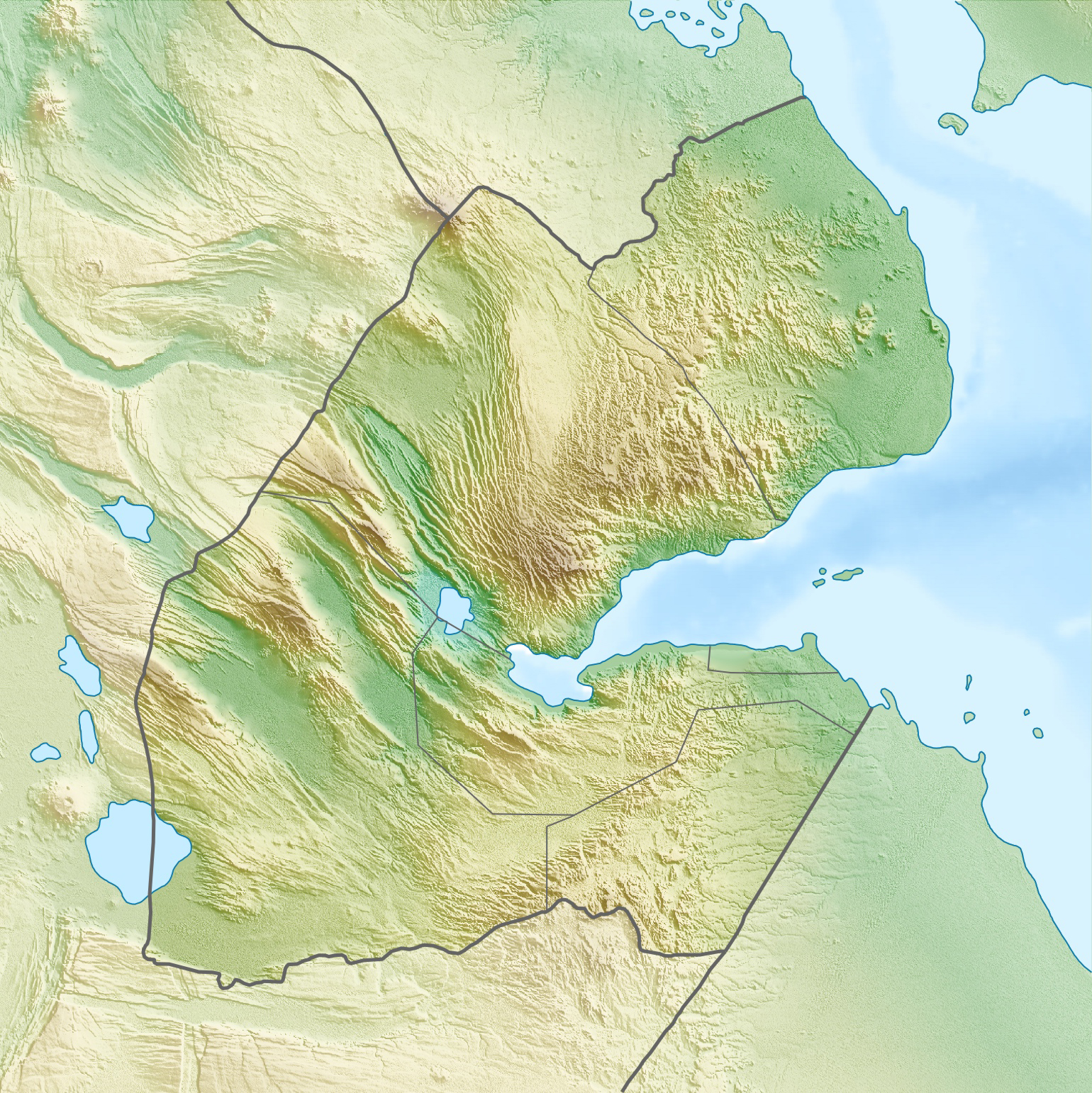 Large detailed Djibouti relief location map Large detailed relief