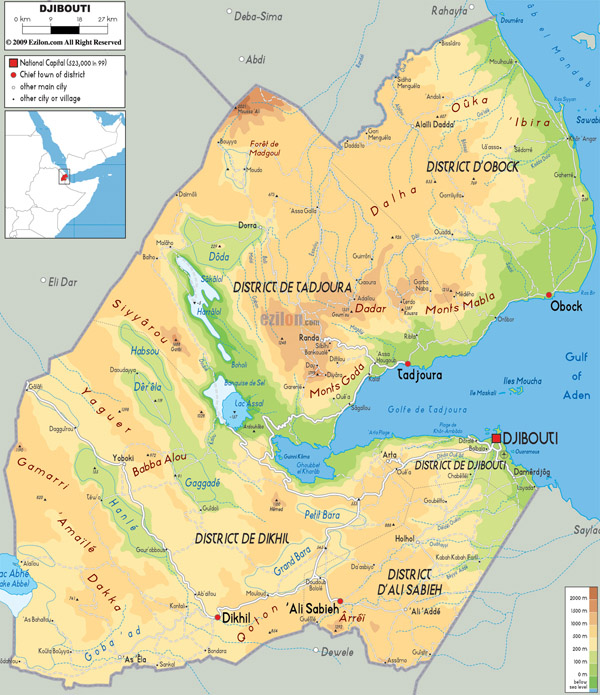 Large detailed physical map of Djibouti. Djibouti large detailed physical map.