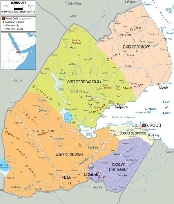 Large detailed political map of Djibouti with roads.