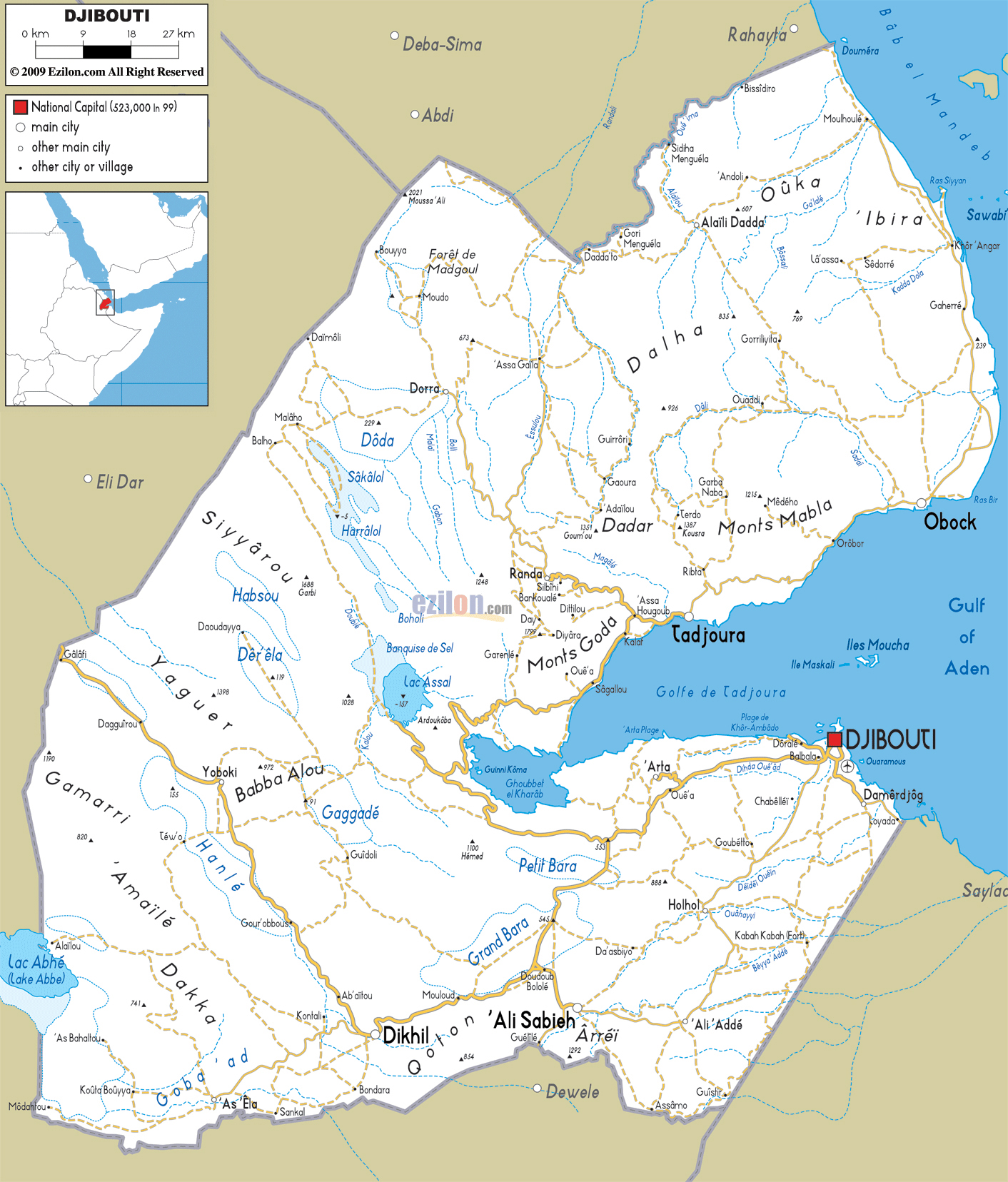 Djibouti Map on