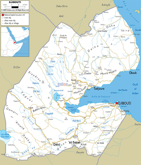 Large detailed road map of Djibouti. Djibouti large detailed road map.