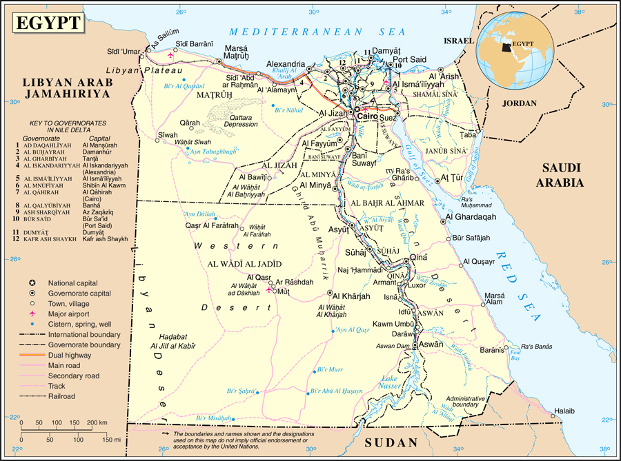 Deatiled Political And Road Map Of Egypt Egypt Deatiled Political And Road Map Vidiani Com