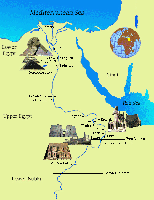 Detailed ancient map of Egypt. Egypt detailed ancient map.