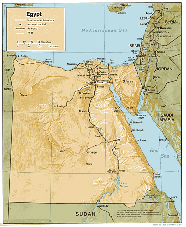 Detailed relief and political map of Egypt.