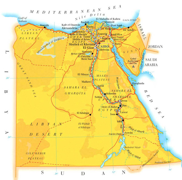 Detailed road and physical map of Egypt.