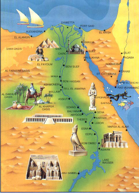 Detailed Tourist Map Of Egypt Egypt Detailed Tourist Map - Map of egypt elevation