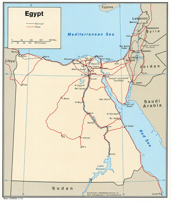 Egypt political map 1972. Political map of Egypt of 1972.