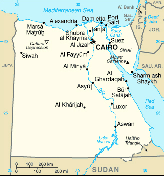 Egypt small map. Small map of Egypt.