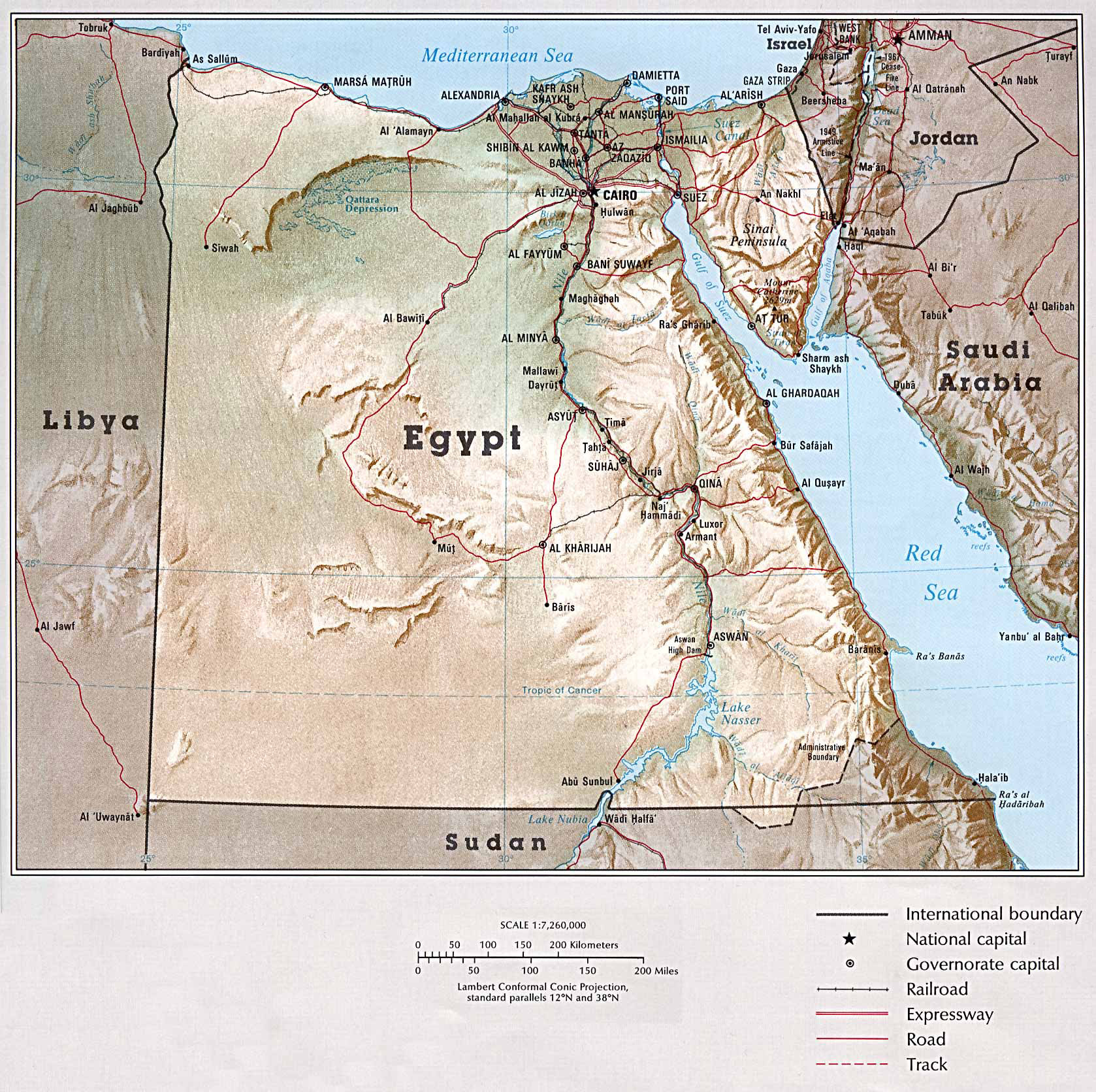 Large detailed relief map of Egypt with all cities and roads. Egypt ...