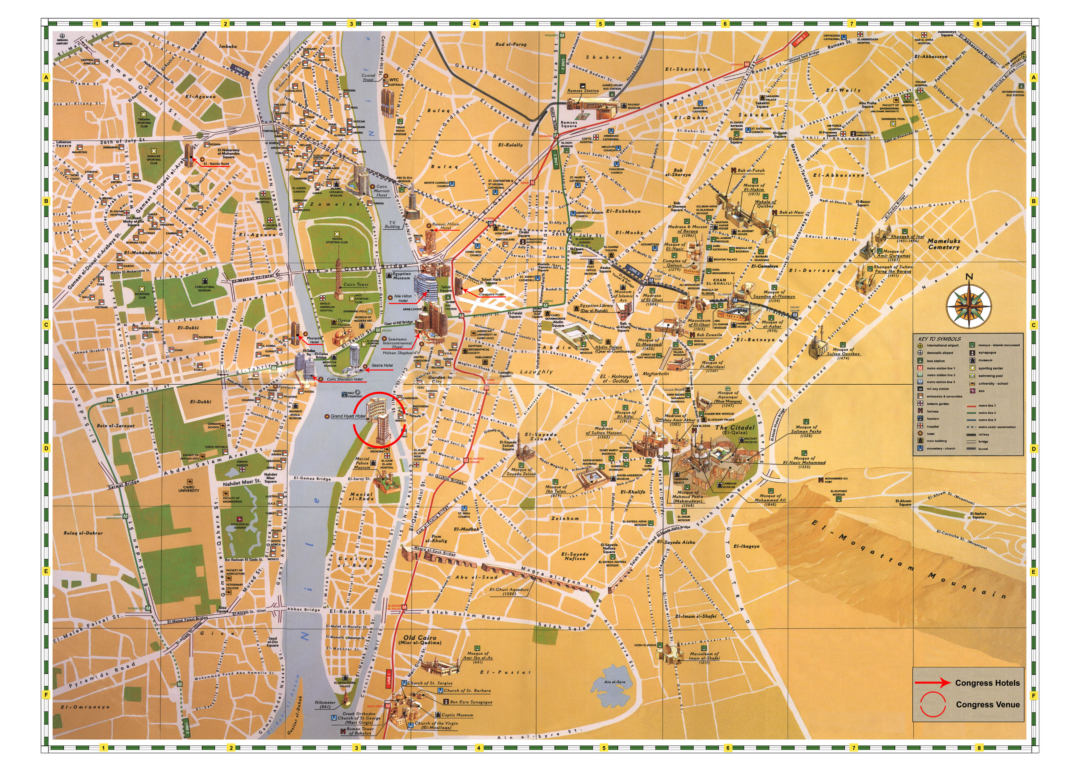 Tourist map of cairo city cairo city large detailed tourist map