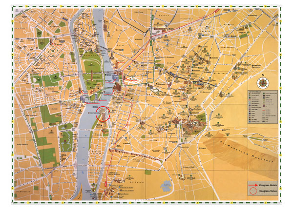 Large detailed tourist map of Cairo City. Cairo City large detailed tourist map.