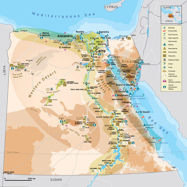 Large detailed travel map of Egypt. Egypt large detailed travel map.