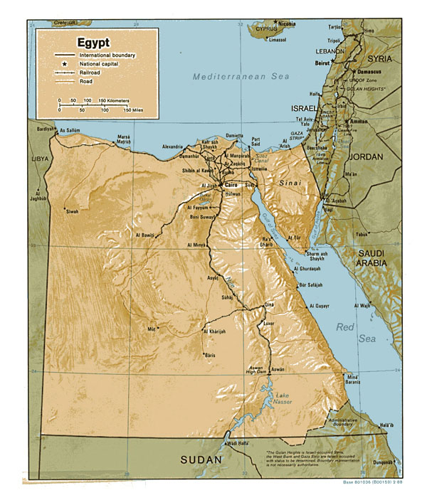 Large relief map of Egypt. Egypt large relief map.