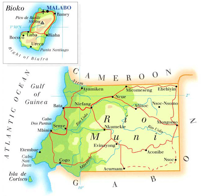 Detailed physical and road map of Equatorial Guinea.