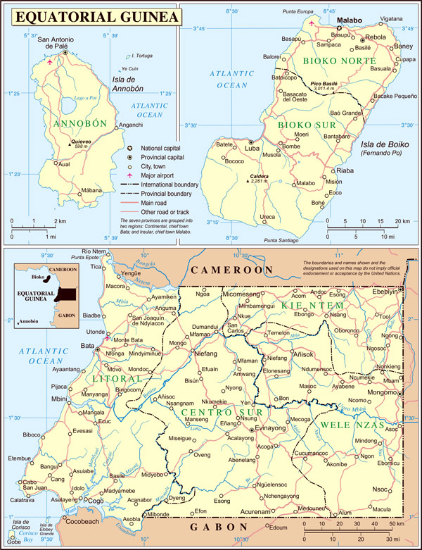 Detailed political and administrative map of Equatorial Guinea.