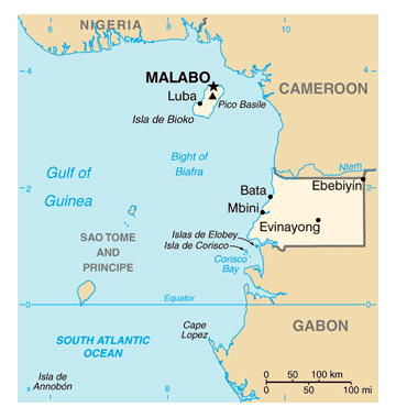 Map of Equatorial Guinea. Equatorial Guinea map.