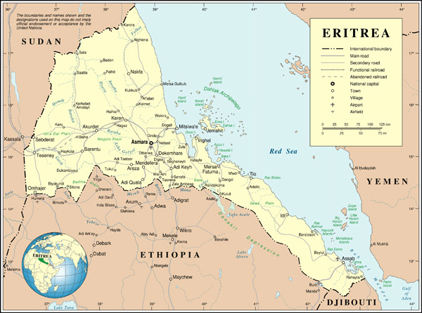 Detailed political map of Eritrea. Eritrea detailed political map.