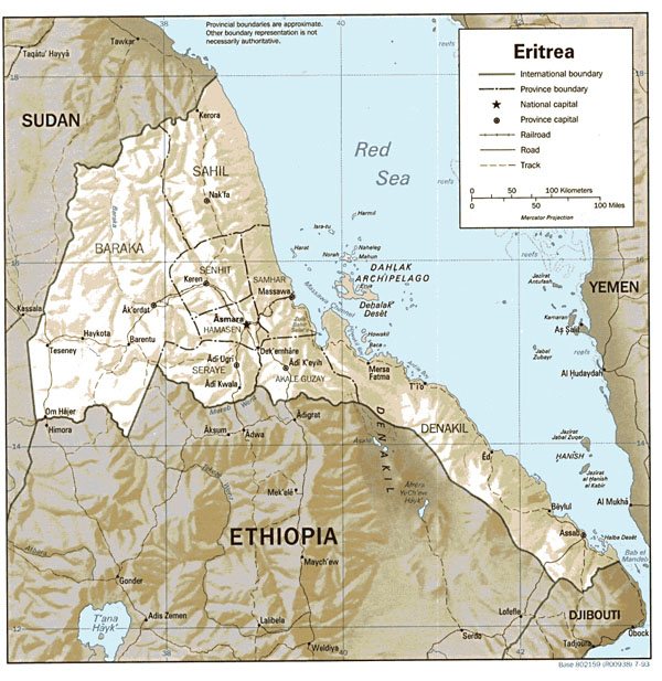 Detailed relief and political map of Eritrea.