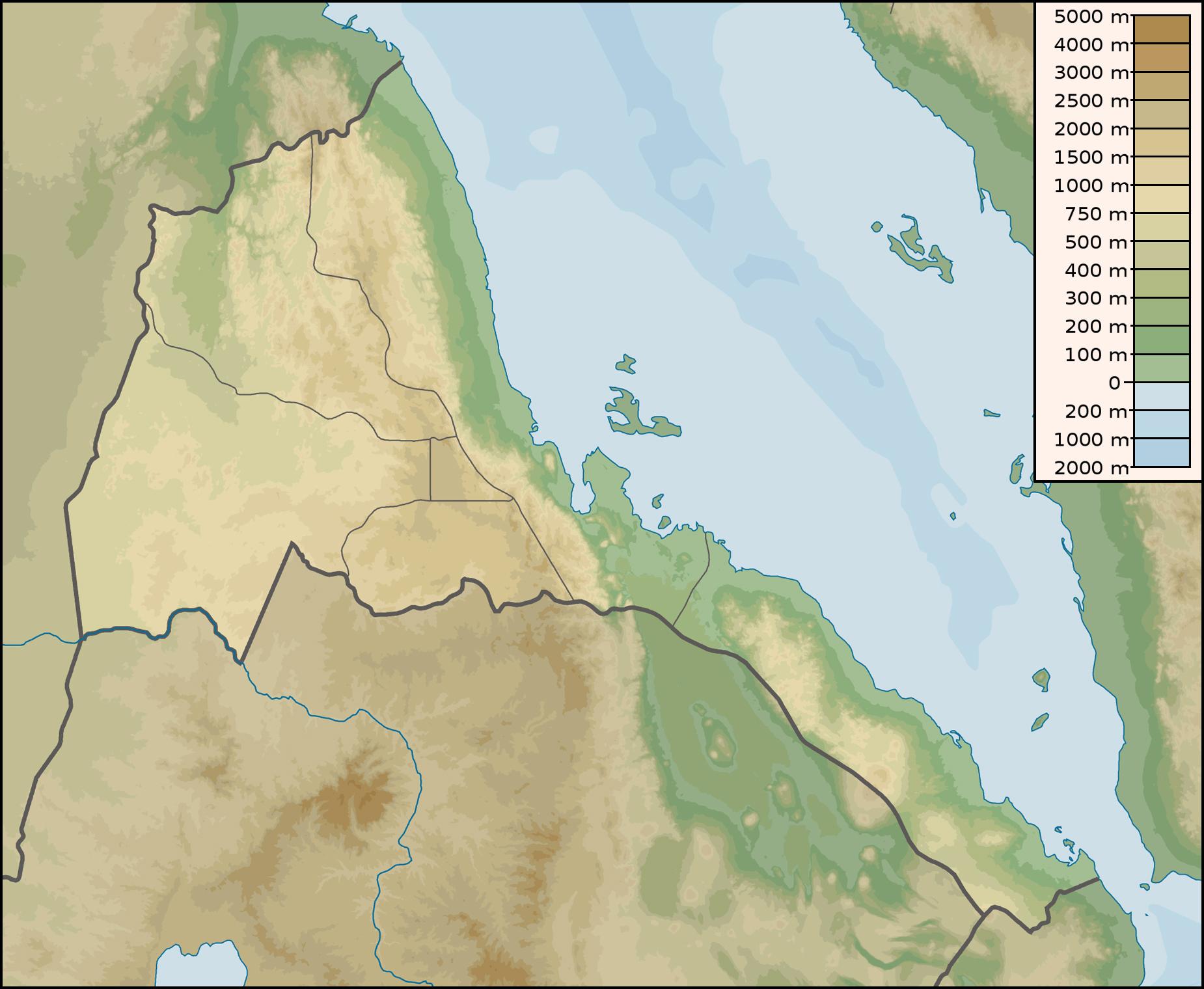 Large detailed physical map of Eritrea Eritrea large detailed