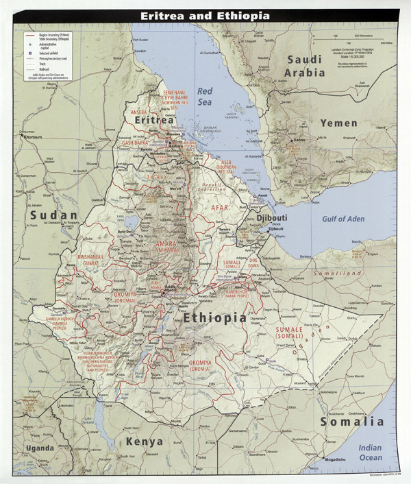 Large detailed relief map of Eritrea and Ethiopia with cities, highways and airports.