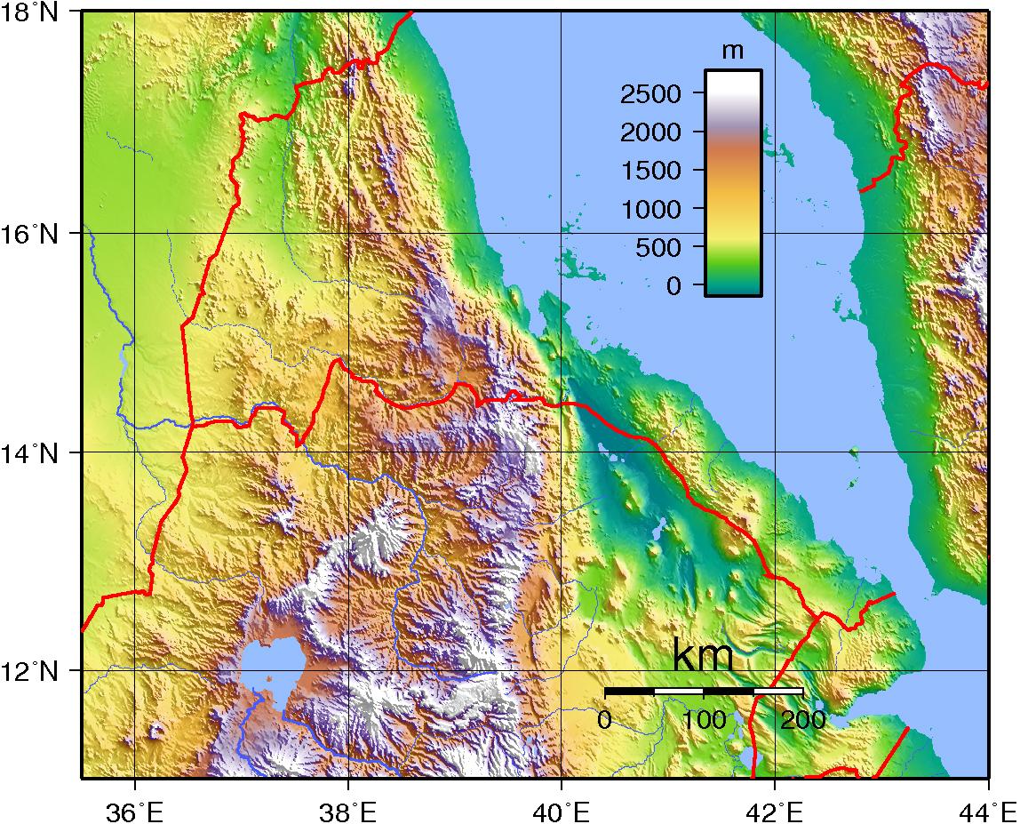 Large detailed topographical map Eritrea Eritrea large detailed