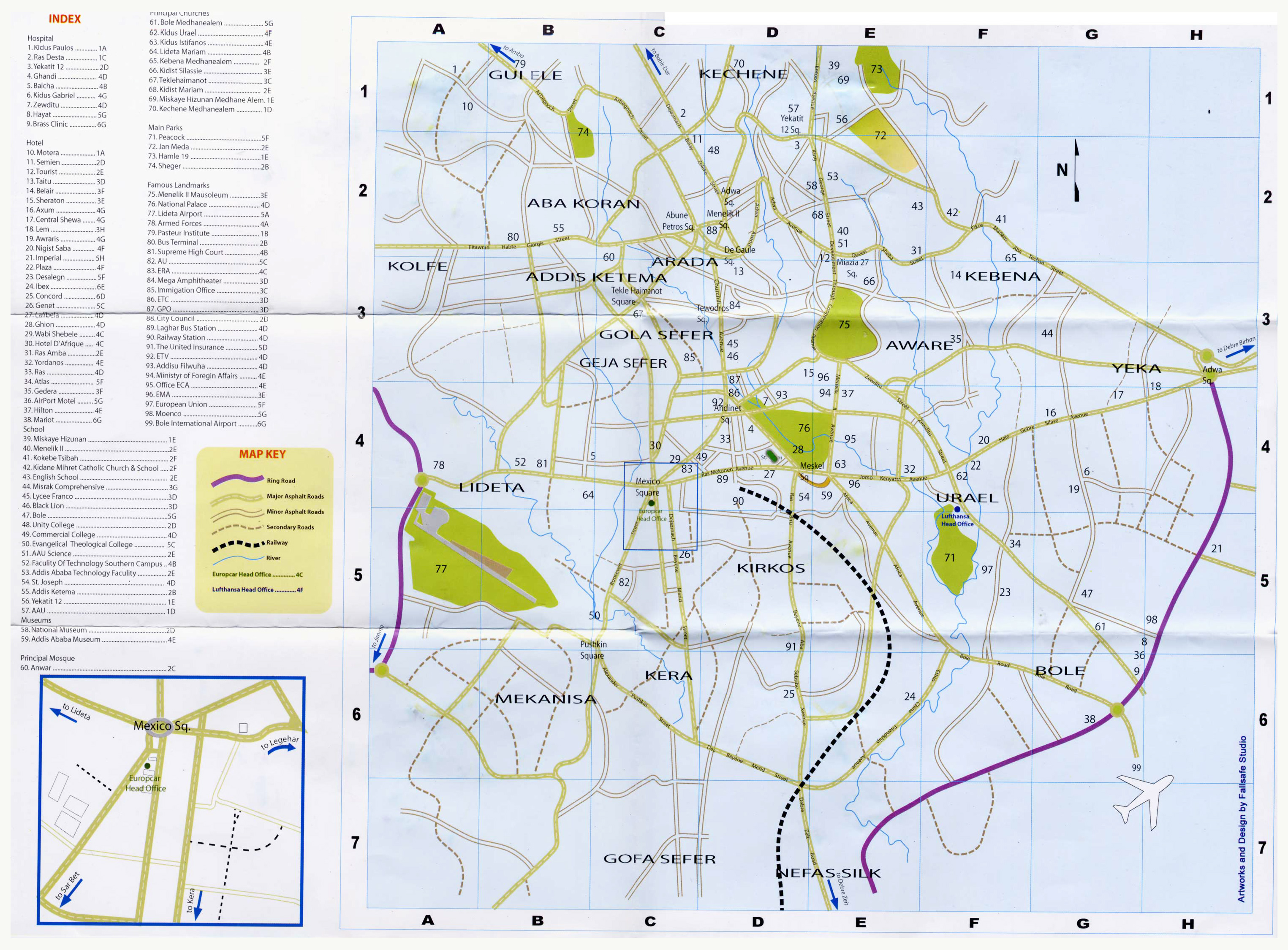 Detailed roads map of Addis Ababa city. Addis Ababa city detailed ...