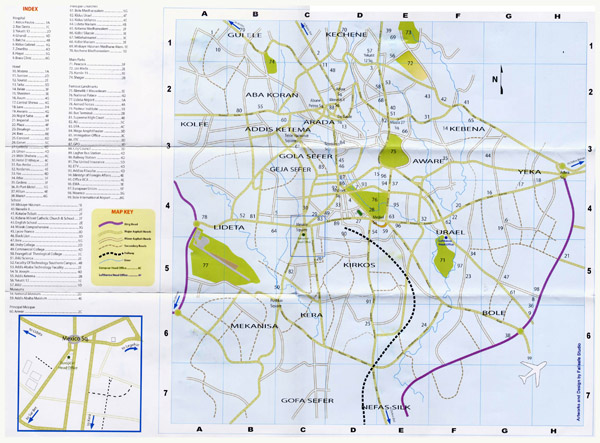 Detailed roads map of Addis Ababa city. Addis Ababa city detailed roads map.