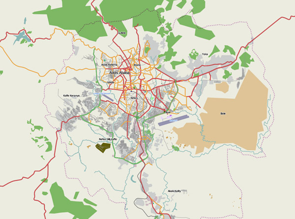 General map of Addis Ababa. Addis Ababa general map.