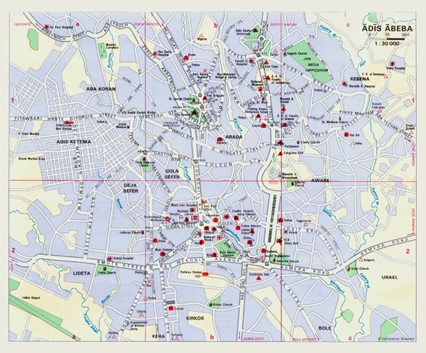 Large detailed roads map of Addis Ababa city.