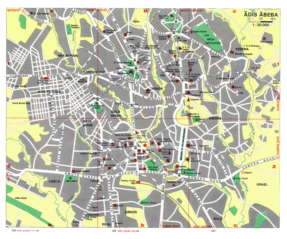 Large detailed roads map of Addis Ababa city with street names ...