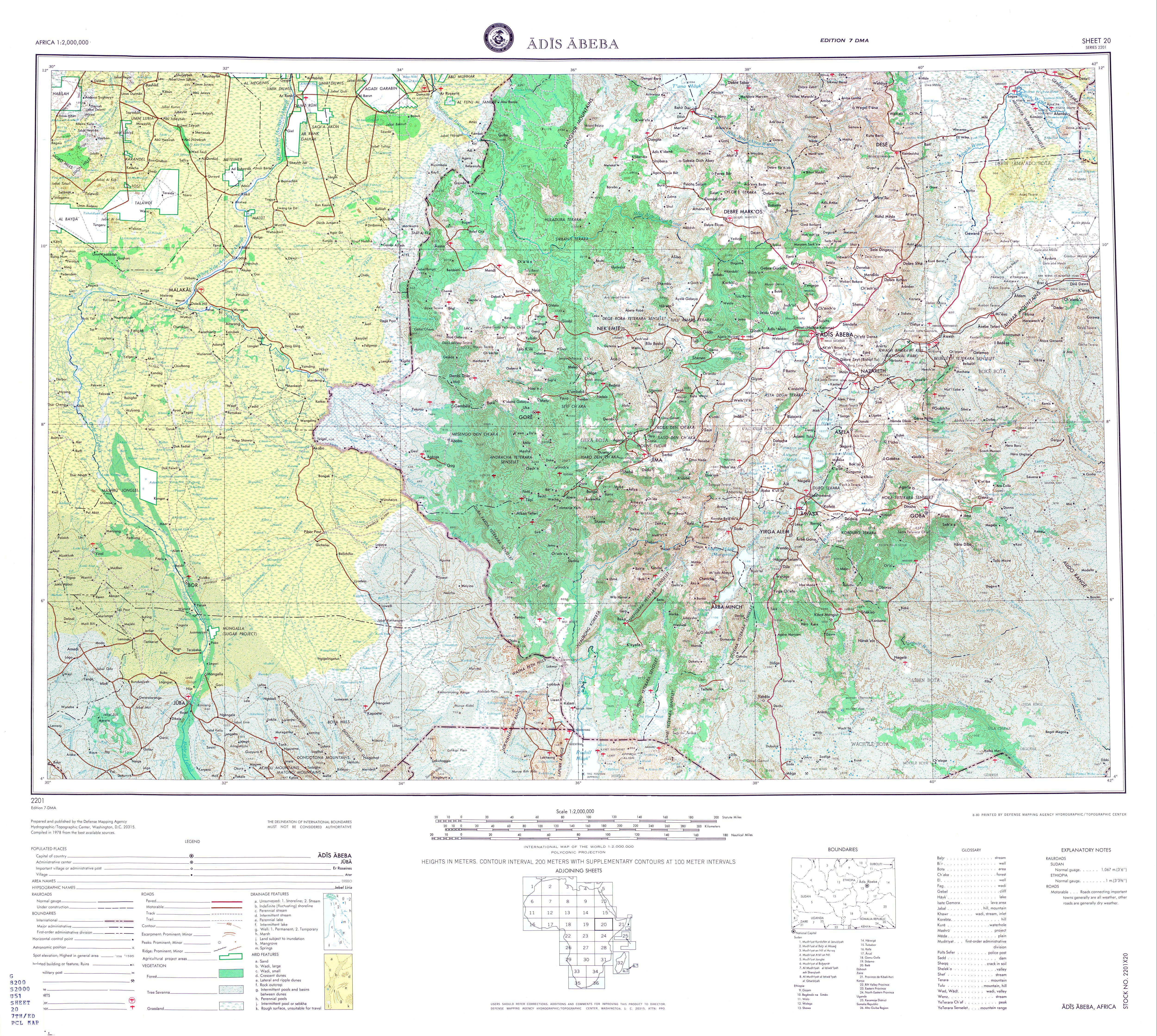 Large scale detailed topographical map of Addis Ababa region ...